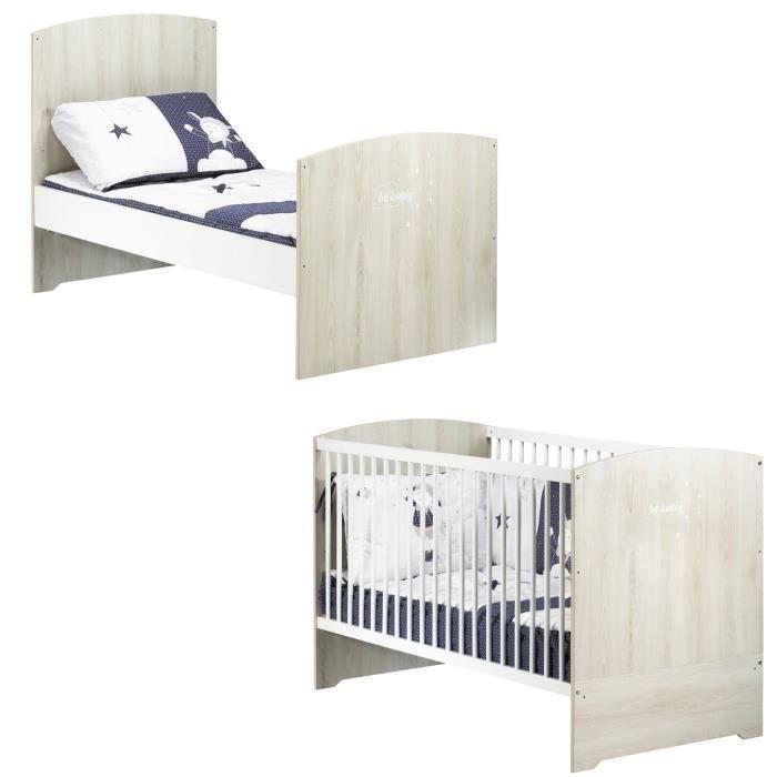 BABYPRICE  Lit Bébé Évolutif Little Big Bed Smile Hêtre Cendré 140x70 cm