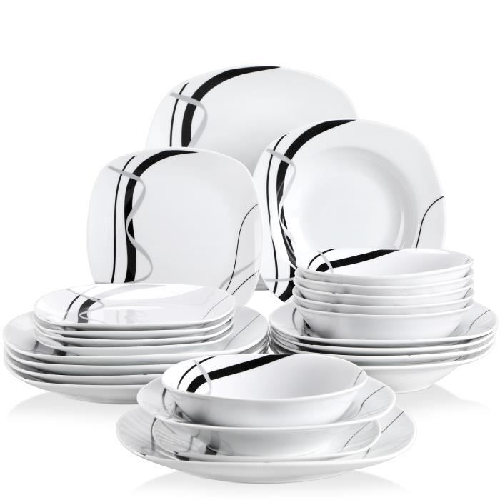 Veweet Service de Table Melody 18 pièces en Porcelaine Service de Table Lot  DE 15, 3b7daaf98e85