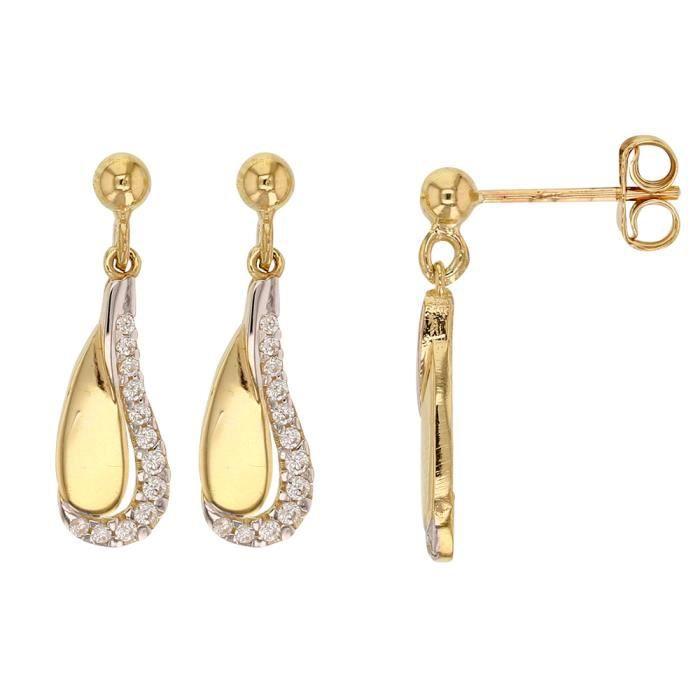 Jouailla - Boucles doreilles pendantes en or 375-1000e blanc et jaune avec oxydes (393438)