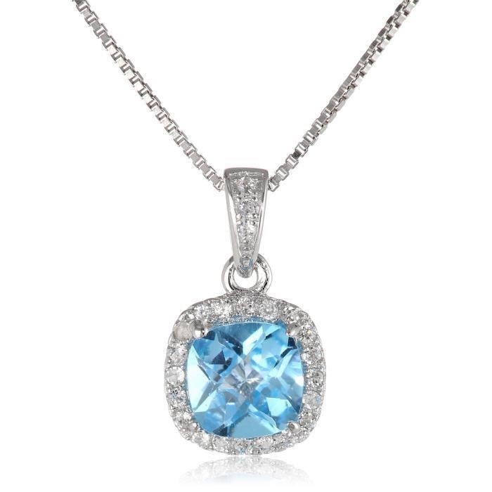 Jewel Panda Ster. Argent Damier Coussin topaze bleue et le collier Sapphire Round Créé