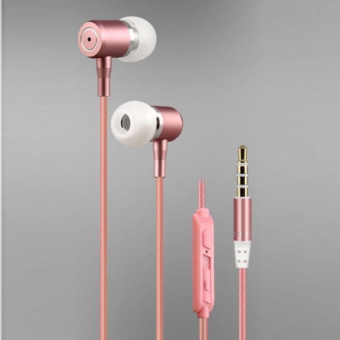 Écouteurs De Basse Stéréo Intra Auriculaires Rose