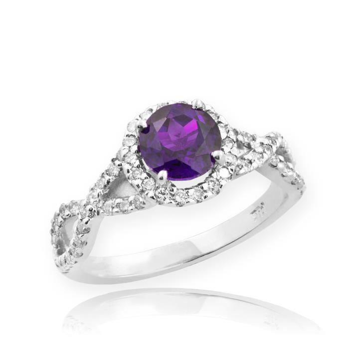 Bague Femme Alliance 10 ct Or Blanc 471/1000 Améthyste Infinité Avec Diamant