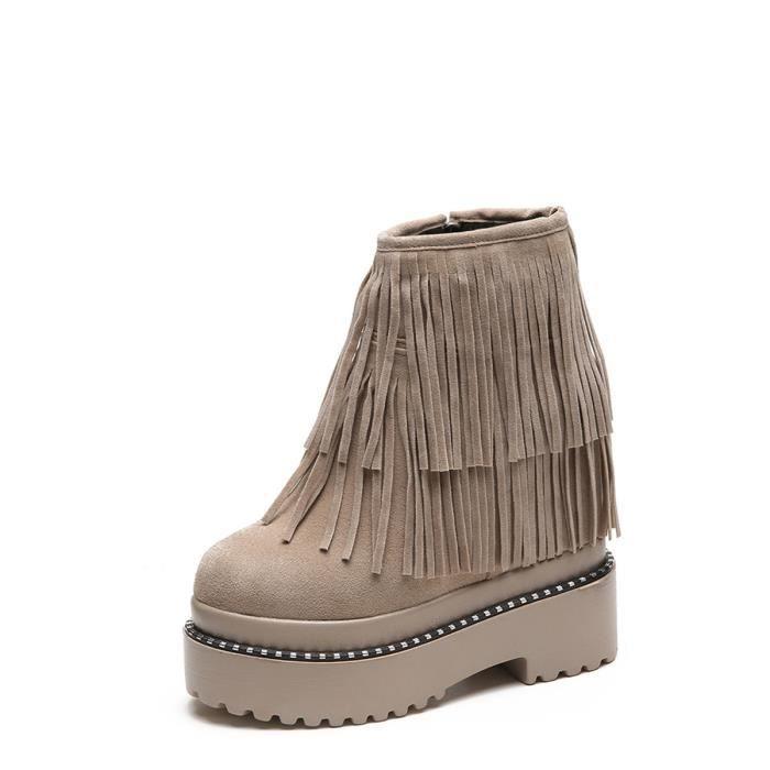 Design Femmes Bottine Solide Couleur Tassel intérieur haut Heeled Tous Chaussures match 12774810 USdbytpRv
