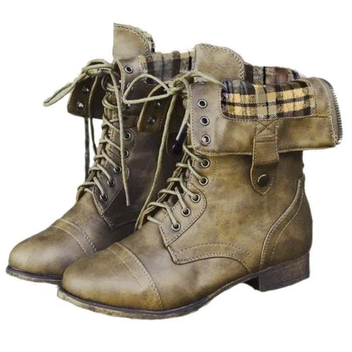 Minetom Bottes De Femme Chaussures Hiver Rétro Cheville Boots ... 435289335906