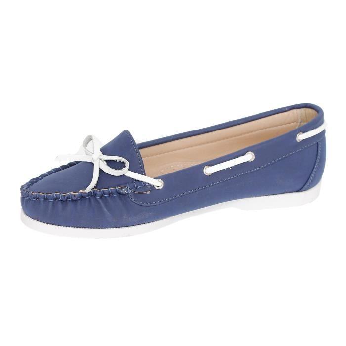 Mocassins Femme Pu Bleu Marine Gentilly - Couleur:bleu Pointure:36