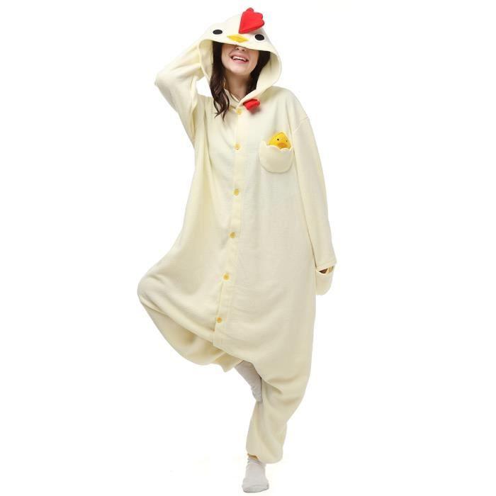 Adulte Animé Coq Bdg fz068blanc Homme Hiver Kigurumi Cosplay Femme m Pyjama pq1nwgF
