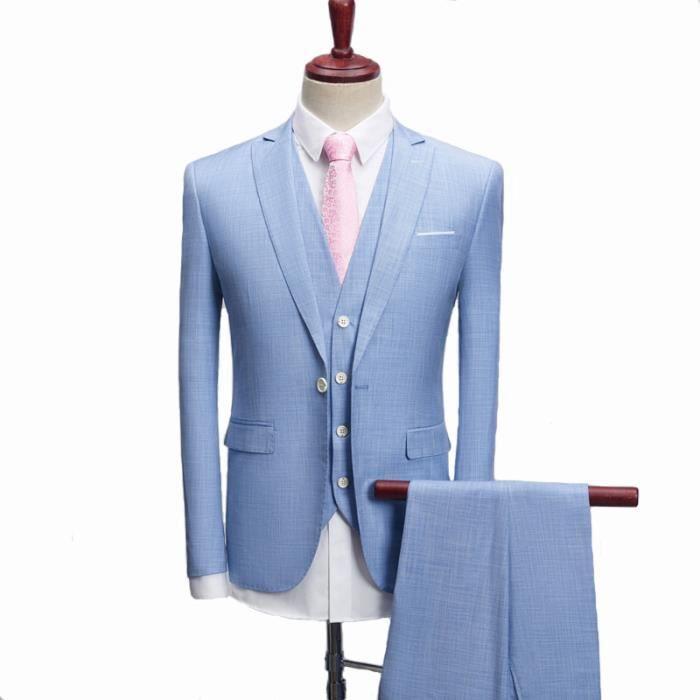 Costume Homme 3 Pièces Complet (Blazer Gilet Pantalon) Deguisement Tuxedo Dîner  Carnaval Veste de Smoking Uniforme Business Mariage 966c8106b8b
