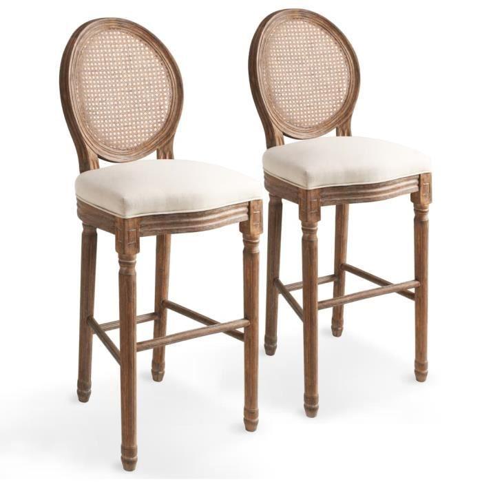 52 Cm Pcs Chaise Chaises Blanc De Lot 48 Bar Lin Rotin 123 Fauteuil Scandinave 2 X Crème 8nwPk0O