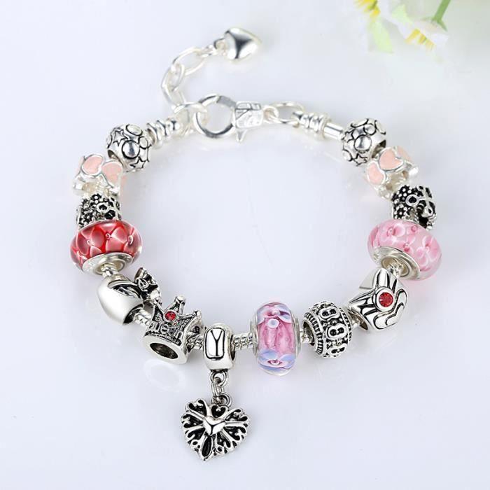 Bracelet Charms enfants Fille Plaque Argent 925 Bracelet Rose et Rouge  Murano Verre Charms No d7c6727a0fb0