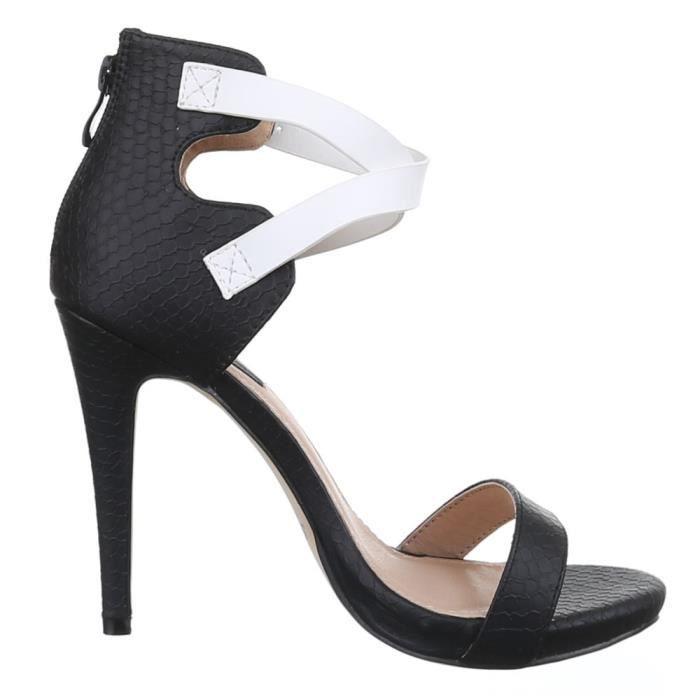 Femme chaussures sandales escarpin High Heels noir blanc 38