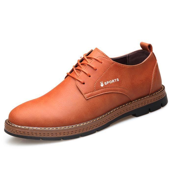 Chaussures Hommes Cuir Confortable mode Homme chaussure de ville BBZH-XZ194Rouge39