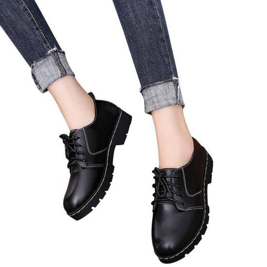 Plat Casual Dentelle Noir En Cheville Chaussures Up Féminine Cuir De Mode Bout Bottes Rond Bottines wq0xpA07