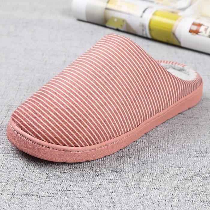 cuir couleur unie de haute qualité tissu velours pantoufles couple confortables avec des chaussons en coton épais,rose,38