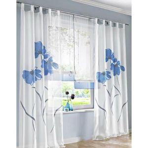 rideau voilage bleu et blanc achat vente rideau voilage bleu et blanc pas cher soldes d s. Black Bedroom Furniture Sets. Home Design Ideas