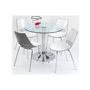 TABLE À MANGER COMPLÈTE Table repas ronde PLANET 90x90 en verre piétement f5d70179e3a0