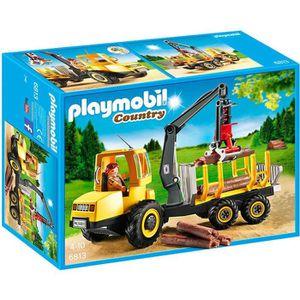 FIGURINE - PERSONNAGE PLAYMOBIL 6813 Camion Porteur de troncs avec Bûche