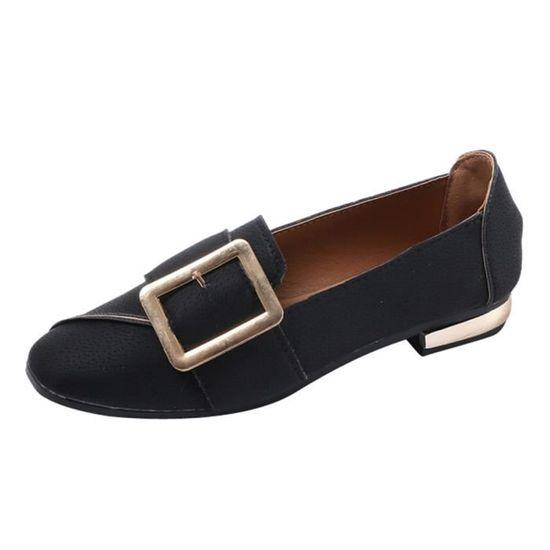 Femmes Shallow Place Slip Boucle Chaussures à talon bas carré Chaussures simples Toe  Noir Noir Noir - Achat / Vente slip-on