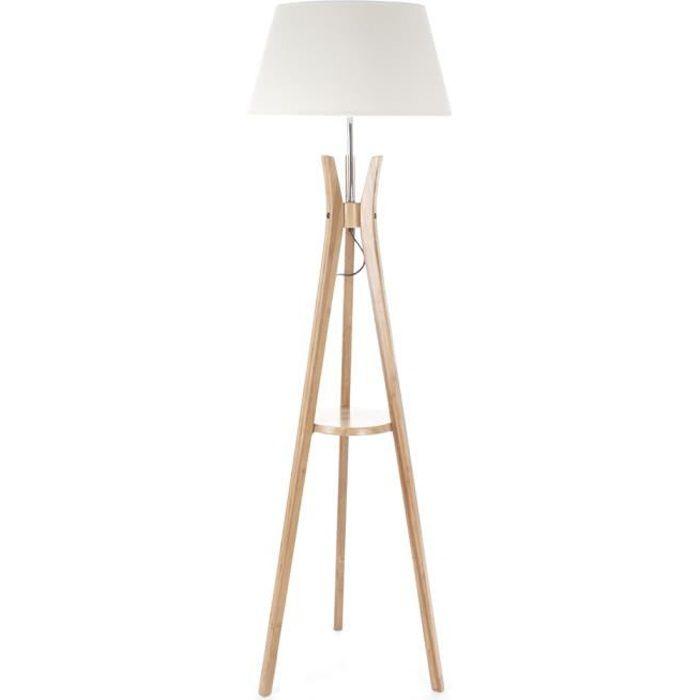 lampadaire tr pied tablette h156 cm autres beige blanc. Black Bedroom Furniture Sets. Home Design Ideas
