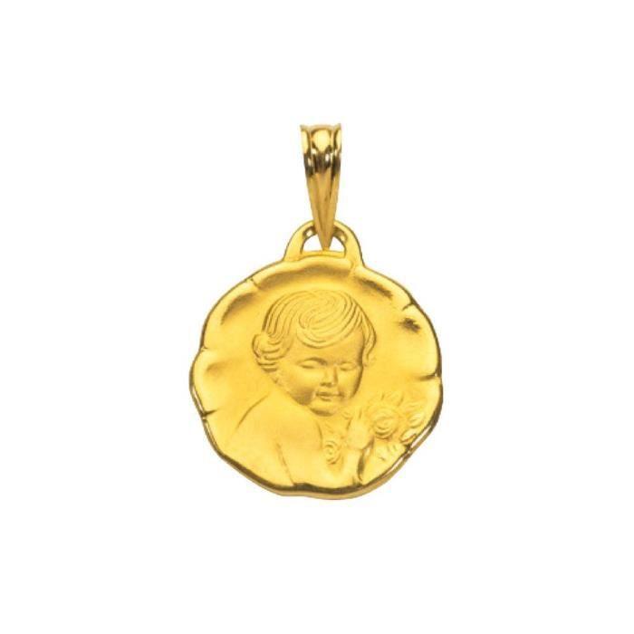 Médaille avec un ange en or 18 carats 750-1000 avec les bords en leger relief