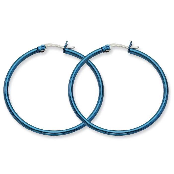 En acier inoxydable de 42 mm Bleu-Boucles dOreilles Créoles