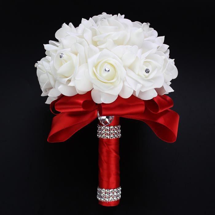 BOUQUET MARIÉE TISSU (rouge) La tenue bouquet de mariée de fleurs bulle