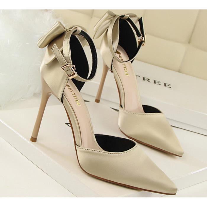 Nouveau Doux Talon Haut Chaussures Femme Mode Mignonne Arc Désign Satin Talon Haut Chaussures Mode Chaussures de Bureau