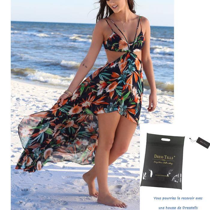 Robe plage bohémien style sexy à Bretelles en Mousseline,robe imprimé longue irrégulière dos nu Dresstells