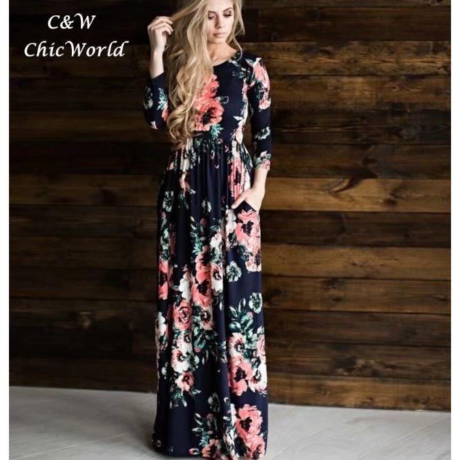 2018 Printemps été Imprimé Floral Longue Robe Bleu Taille élastique Slim  Manche Longue Grande Taille Robe Femme Européen Mode Bleu Bleu - Achat    Vente robe ... 65d6c4a9ff3