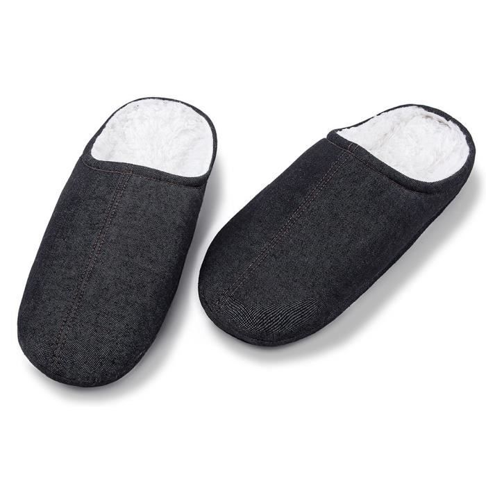 Mens Fuzzy Slip On Slippers Ladies Cute Bedroom Indoor Winter Slippers O9ESC Taille-39 pdl2eSHx9
