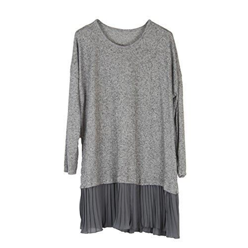Womens Wolfairy Plus Size Dress Tunic Jumper Top Pleated 2YAWU6 Taille-44