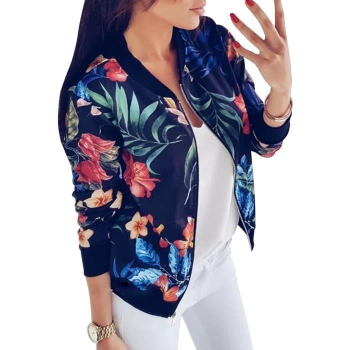 BLOUSON Minetom Femme Manteau Veste Mode Chic Casual Fleur