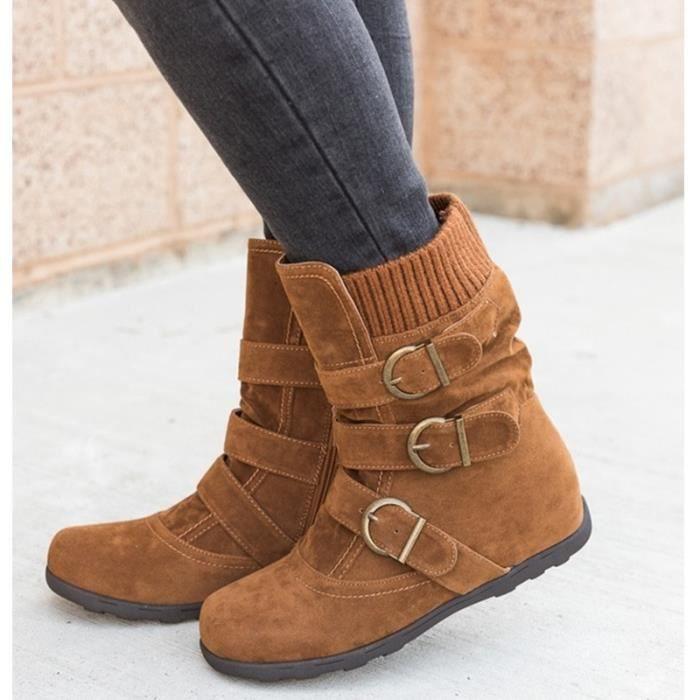 Hiver Mode Daim Sexy Femme Ankle Boots Automne Casual Cheville Plate Talon Marron Bottes Bottine avZgq