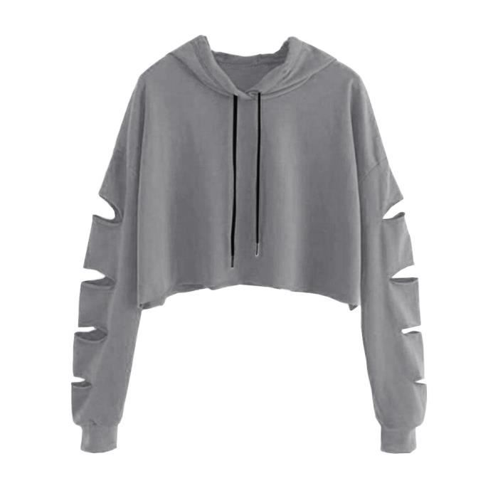 Pull Gris Sweat shirt Longues Mode Chemisier Occasionnels Solide Manches Femmes PqZYzp