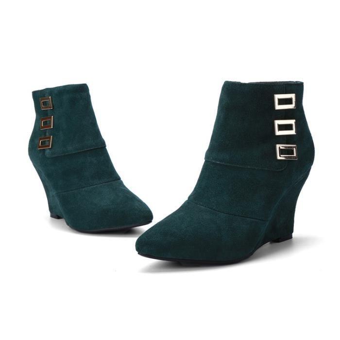 bottes courtes-Pure Color Wedge Bottes talon ch...