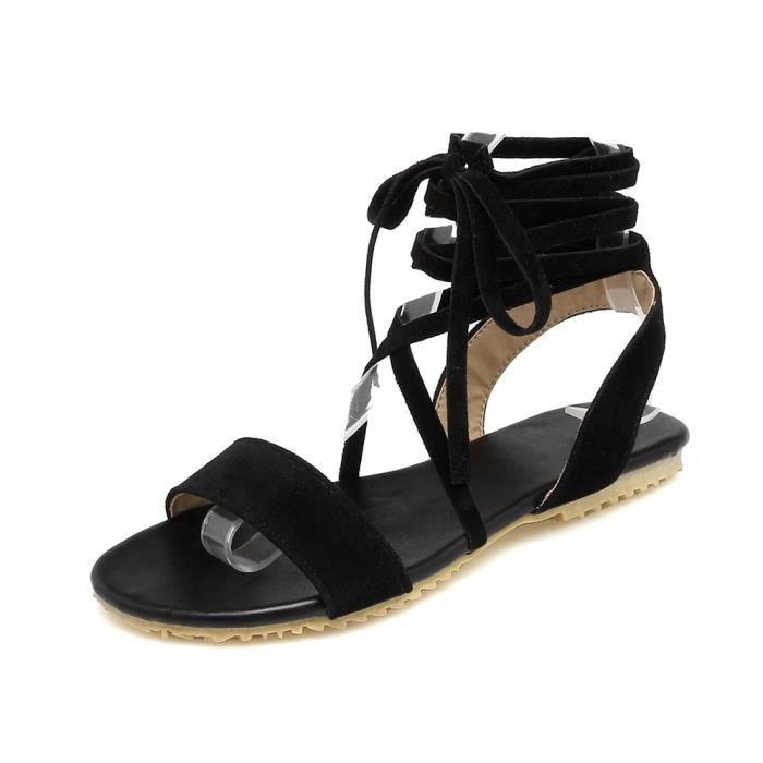 Biencome® Sandales Bohême Femmes Casual Peep-Toe Sandales Plat en PU