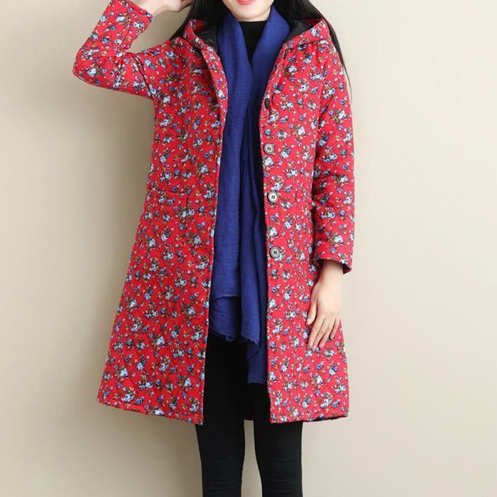 Rouge Imprimé Long Épais Outwear Folk Chaud Personnalisé Xlb81101604rd Tee Manteau Shirt Parka coton Et nv87qSA