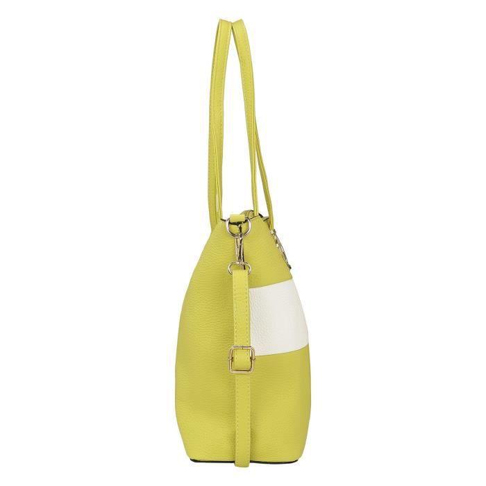 Les femmes Sac épaule jaune et blanc TZGRB