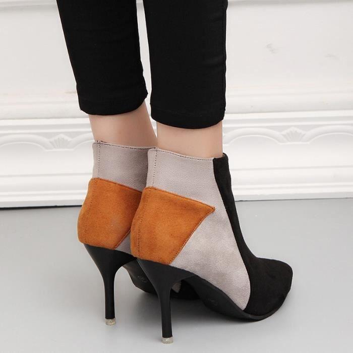 Nouveaux Chaussures Femme Bottes Talons Bottines bout pointu Boucle Martin Bottes Ladies Zip Chaussures,marron clair,38