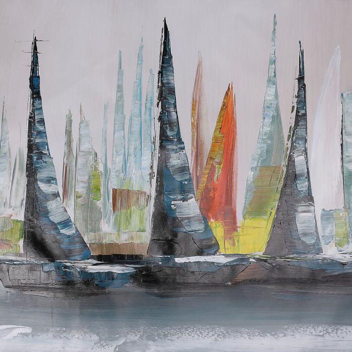 Peinture huile toile tableau bateau abstrait art moderne for Peinture a tableau
