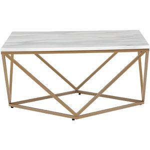 TABLE BASSE Table basse avec effet marbre blanc avec pieds dor