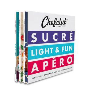 LIVRE CUISINE AUTREMENT Le coffret Chefclub : Sucré, Light & Fun, Apéro