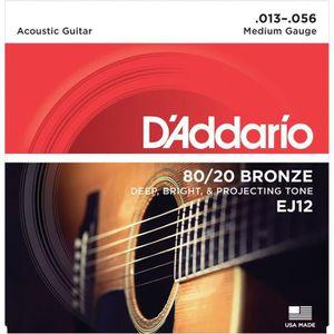 CORDE POUR INSTRUMENT DADDARIO EJ12 Jeu de cordes pour guitare acoustiqu