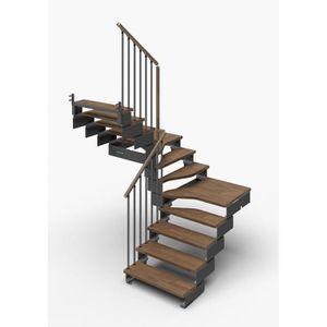 ESCALIER Escalier double quart tournant 11 marches en bois