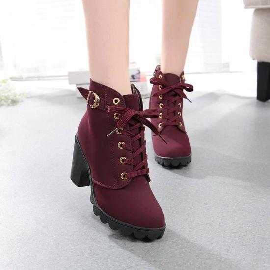 Talon Plate forme Haut Bottines Chaussures Lacets Femmes À A35L4Rj