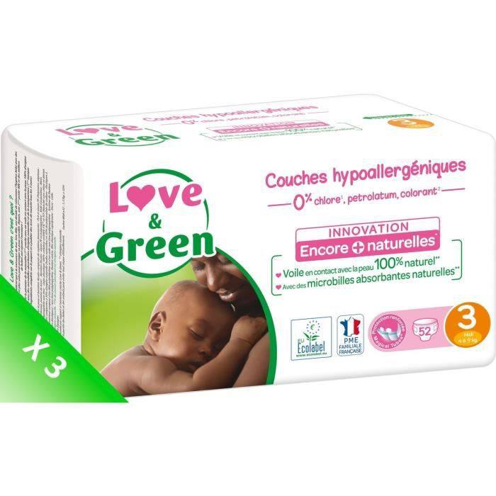 LOVE AND GREEN Couches écolabellisées T3 - 156 couches - Eco Pack