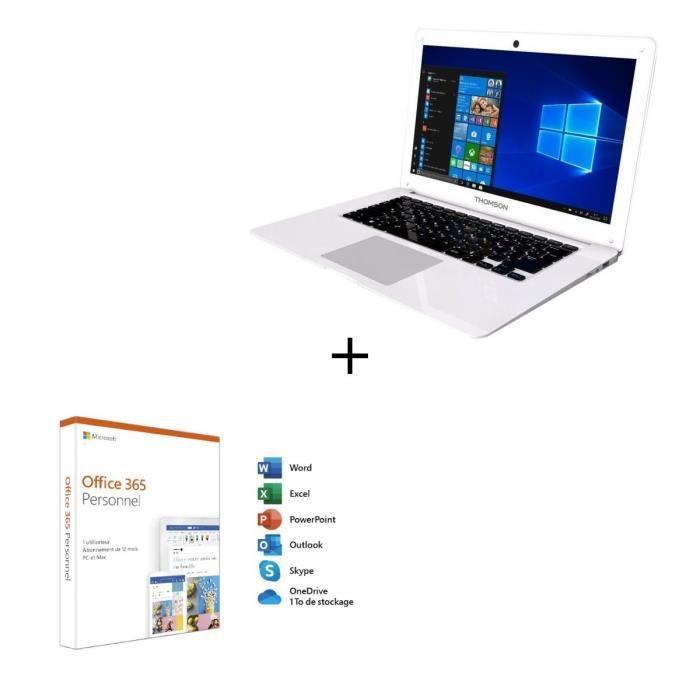 Thomson pc portable neo13a 4wh64 133hd intel atom quadcore e8000 ram 4go stockage 64go ssd windows 10office 365 perso