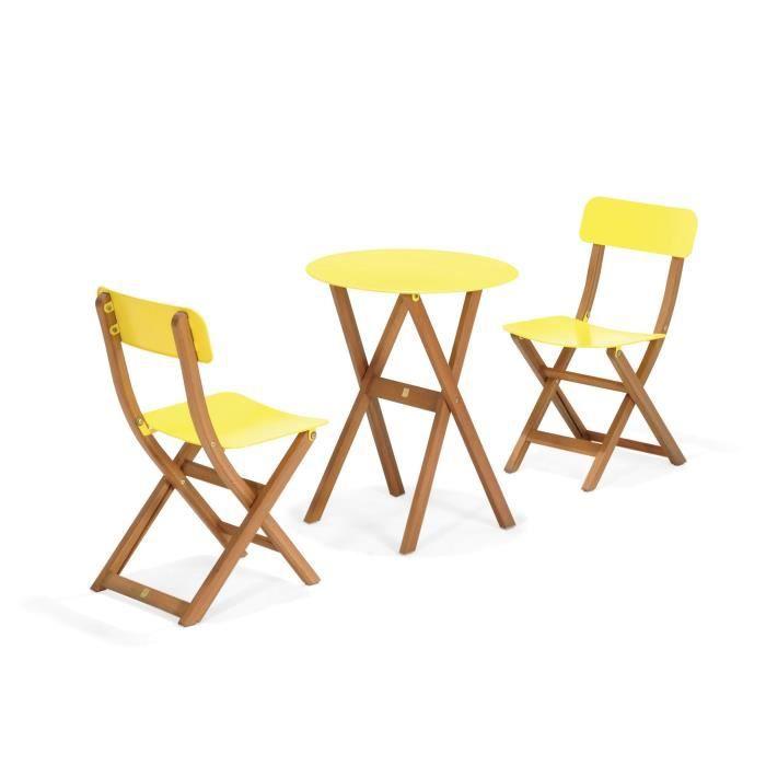 Urban out Ensemble 2 chaises et 1 table de jardin jaune - Jaune ...