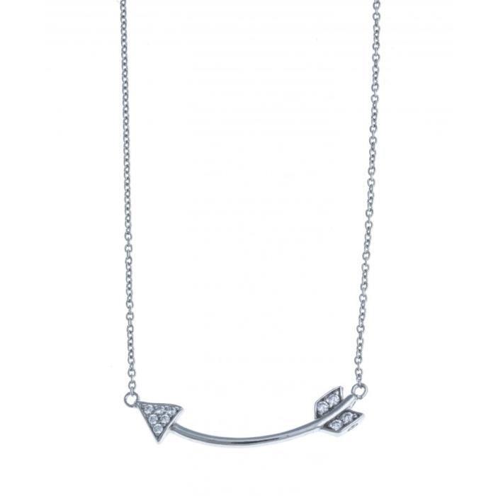Collier argent rhodié flèche - zircons - 42 cm Argent