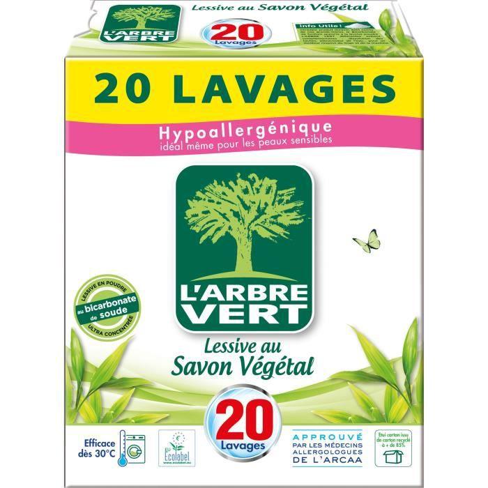 LESSIVE L'Arbre Vert Lessive Poudre 1 kg 20 Lavages