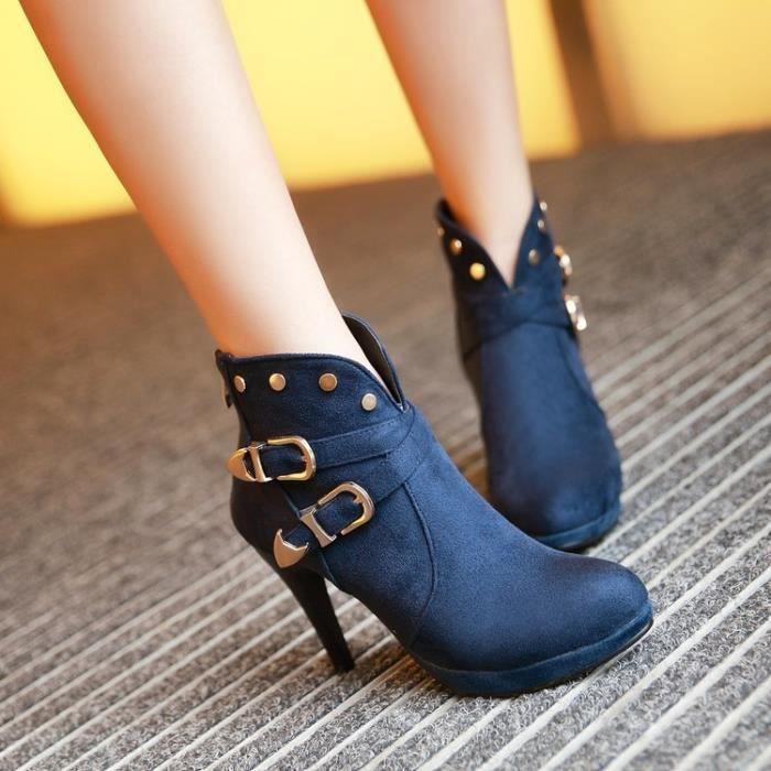 martin boots-Pure Color talon mince de la femme Avec Bottes Retour Zippers Suede Band D coration M tal